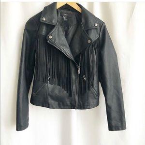 Forever 21 faux leather fringe jacket